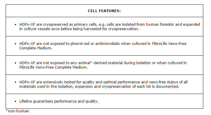 Dermal Fibroblasts Xeno Free Features